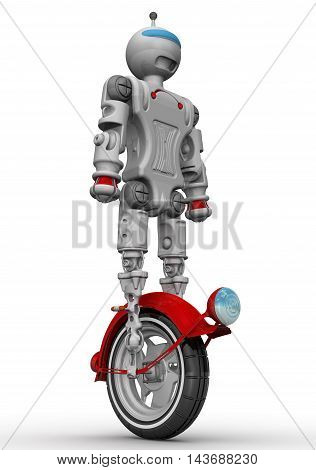 Robot on unicycle. Humanoid robot on unicycle standing on a white surface. Isolated. 3D Illustration