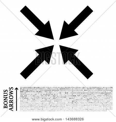 Center Arrows icon with 1200 bonus arrow and direction pictograms. Vector illustration style is flat iconic symbols, black color, white background.