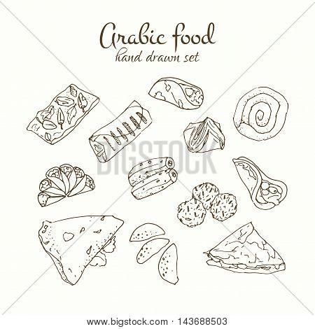 Arabic food vector set. Arabian cuisine illustration. Hand drawn delicious traditional meal design.