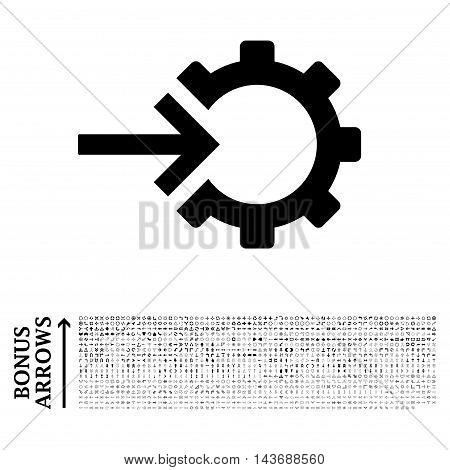 Cog Integration icon with 1200 bonus arrow and navigation pictograms. Vector illustration style is flat iconic symbols, black color, white background.