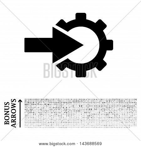 Cog Integration icon with 1200 bonus arrow and direction pictograms. Vector illustration style is flat iconic symbols, black color, white background.