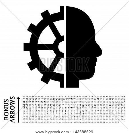 Cyborg Gear icon with 1200 bonus arrow and direction pictograms. Vector illustration style is flat iconic symbols, black color, white background.