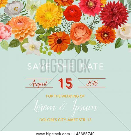 Save the Date Wedding Card.  Summer and Autumn Flowers. Vector Floral Frame