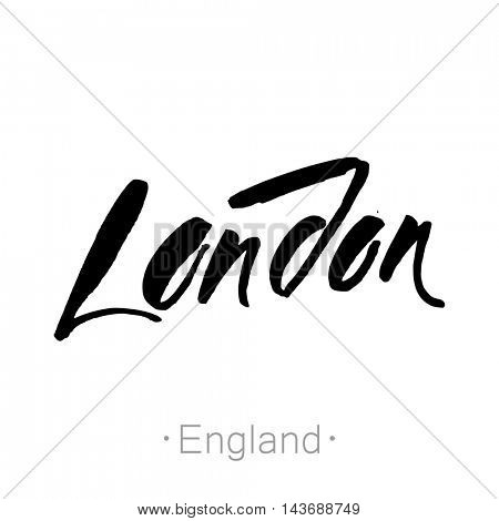 London, England, UK hand-lettering calligraphy. hand drawn vector stock illustration. Modern brush ink. Isolated on white background.