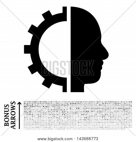 Cyborg Gear icon with 1200 bonus arrow and navigation pictograms. Vector illustration style is flat iconic symbols, black color, white background.