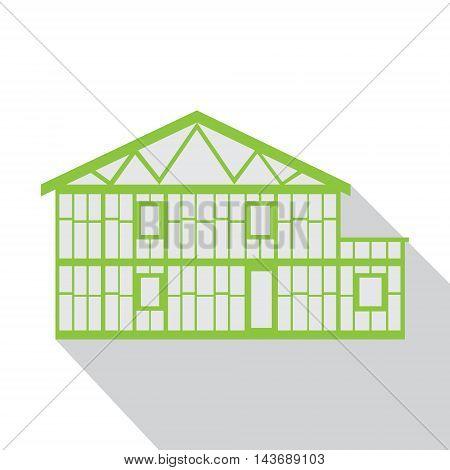 House green logo, real estate design template, long grey shadow.