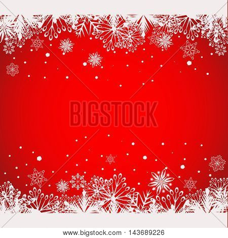 Abstract red Christmas background with white snowflake borders vector template with copy space.