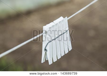 White clothespin on the white rope in garden