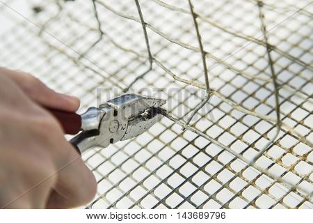 Close up shot of hands with plier while bend edge of metal cage
