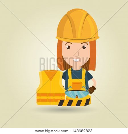worker vest glasses tape vector illustration design