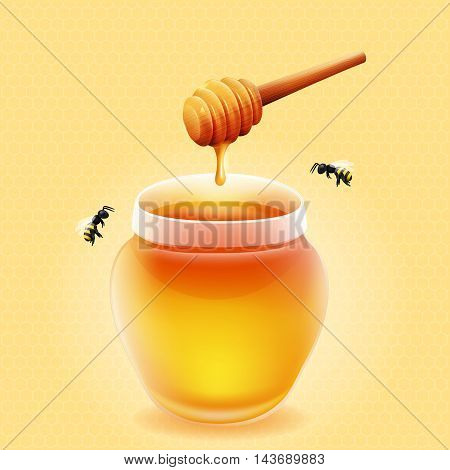 Vector jar of honey with wooden honey dipper and bees.