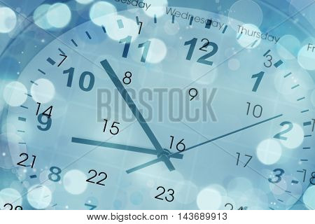 Clock face and calendar composite on blue abstract circles background