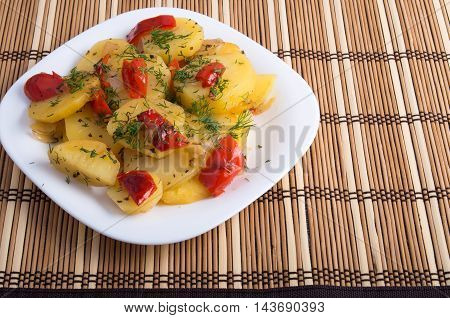 Vegetarian Dish Of Slices Of Stewed Potatoes