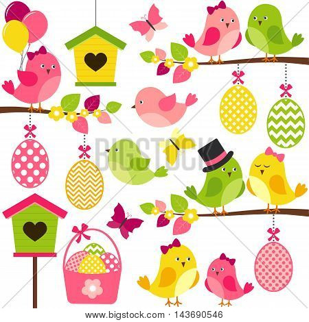 Vector easter birds with eggs birdhouses branches and butterflies