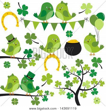 Vector St. Patrick birds with leaves branches and tree
