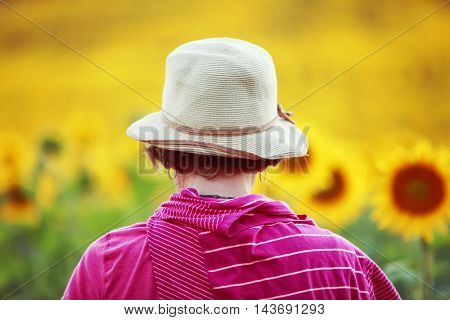 Woman looking at sunflowers. Shallow focus on hat.