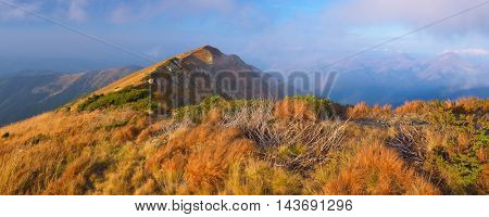 Panoramic views of the mountains. Autumn landscape with mountain peak and dry grass on the slopes of the hill.
