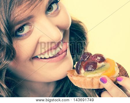 Closeup Funny Woman Eating Fruit Cake