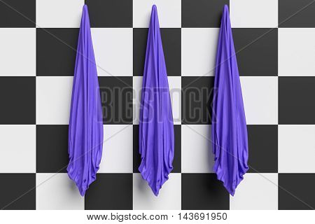 Three Blue Hand Towels On An Checkerboard Pattern Wall 3d illustration