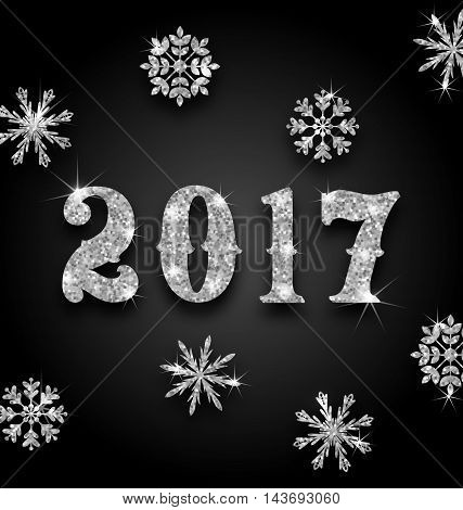 Illustration Silver Magic Background for Happy New Year 2017 with Snowflakes, Glittering Luxury Wallpaper - Vector