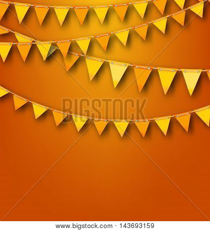 Illustration Autumnal Decoration with Orange and Yellow Bunting Pennants. Copy Space for Your Text - Vector