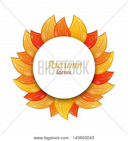 Autumn Greeting Card with Colorful Leaves, Isolated on White Background - Vector