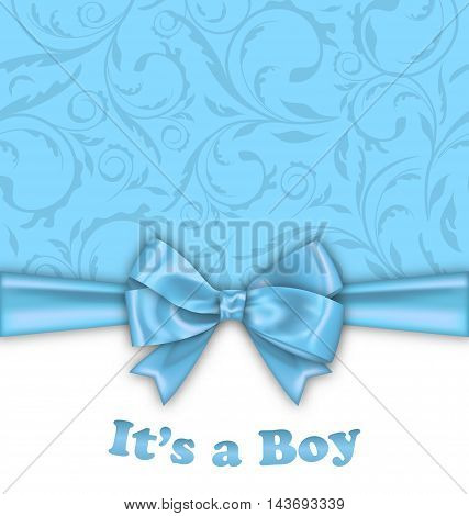 Illustration Boy Baby Shower Invitation Card with Blue Bow Ribbon - Vector