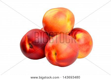 Red ripe nectarine isolated on white background