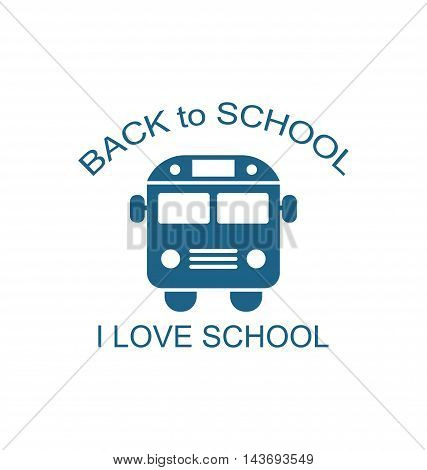 Illustration School Bus Isolated on White Background, Back to School Flat Icon  - Vector