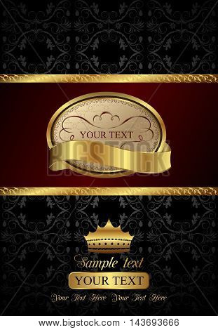 Illustration background with golden luxury label and crown - vector