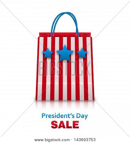 Illustration Shopping Bag in USA Patriotic Colors for Presidents Day Sale. Packet Isolated on White Background - Vector