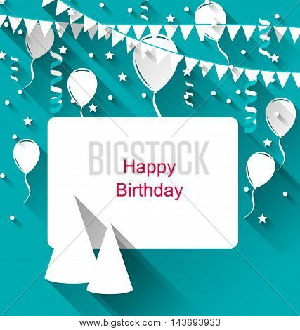 Illustration Celebration Card with Party Hats, Balloons, Confetti and Hanging Flags Pennants - Vector