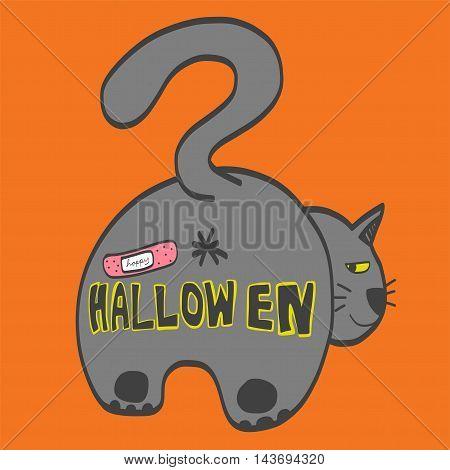 Cat butt happy Halloween illustration on orange background