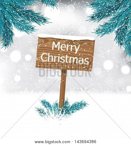 Illustration Christmas Background with Snow Covered Wooden Billboard with Fir Twigs - Vector