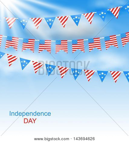 Illustration Bunting Flags Pennants in Traditional American Colors for Independence Day - Vector
