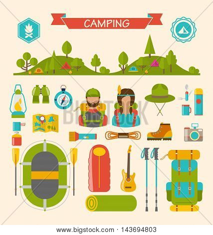 Illustration Set of Camping and Hiking Equipment, Outdoors Adventure, Recreation Tourism, Colorful Symbols and Flat Icons Isolated - Vector