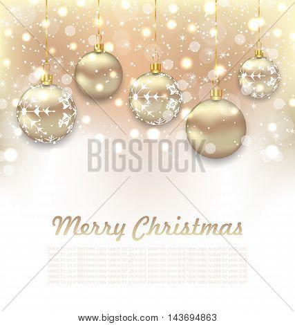 Illustration Christmas Glossy Postcard with Beautiful Balls - Vector