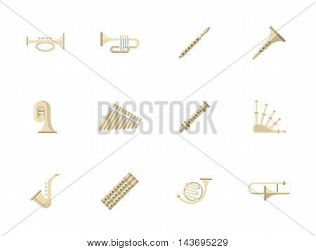 Music culture and entertainment. Brass and woodwind musical instruments for concert, performance, orchestra and other. Set of flat color style vector icons.