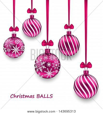 Illustration Christmas Card with Pink Glassy Balls with Bow Ribbon, Isolated on White Background - Vector
