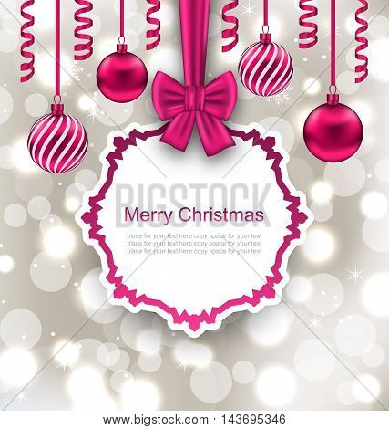 Illustration Greeting Paper Card with Bow Ribbon and Christmas Balls, Light Background - Vector