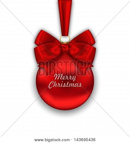 Illustration Realistic Christmas Red Ball with Satin Bow Ribbon Isolated on White Background, Merry Christmas Wishes - Vector