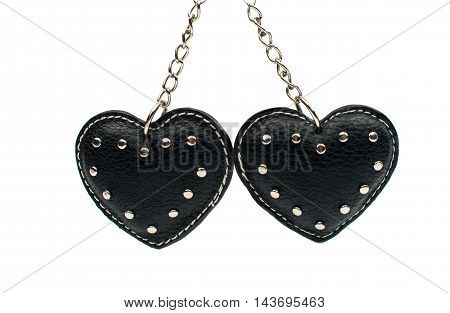 Keychain hearts black on a white background