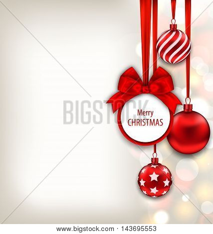 Illustration Christmas Background with Celebration Card and Glass Balls - Vector