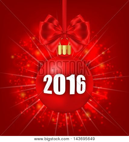 Illustration New Year Glowing Background with Christmas Balls - Vector