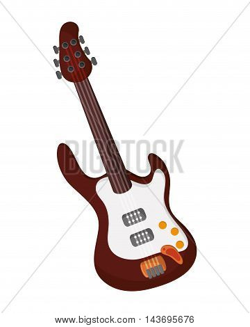 flat design electric guitar icon vector illustration