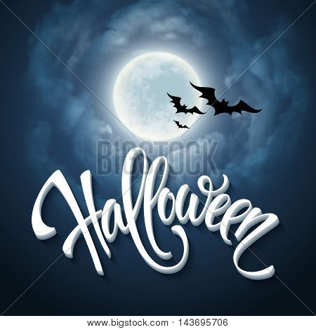 Halloween design with full moon with blue sky. Vector illustration EPS10