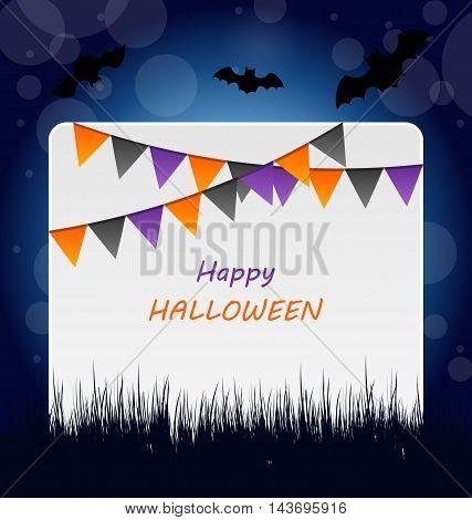 Illustration Halloween Invitation with Bunting Pennants - vector