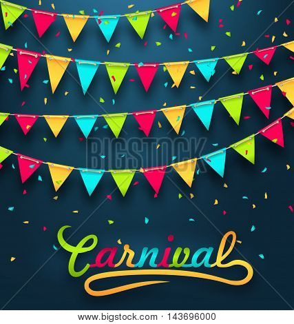 Illustration Carnival Party Dark Background with Colorful Bunting Flags - Vector