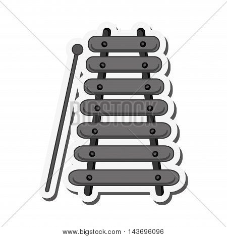 flat design single xylophone icon vector illustration