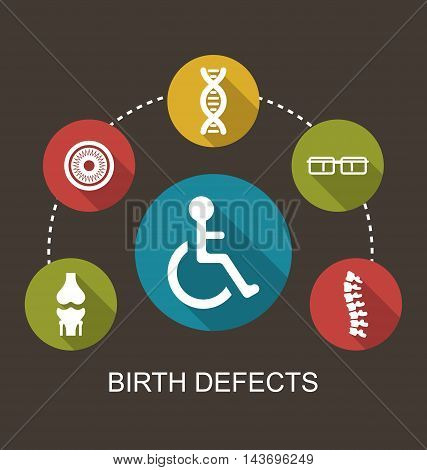 Illustration Flat Icons Disabled with Limited Opportunities and Birth Defects - Vector
